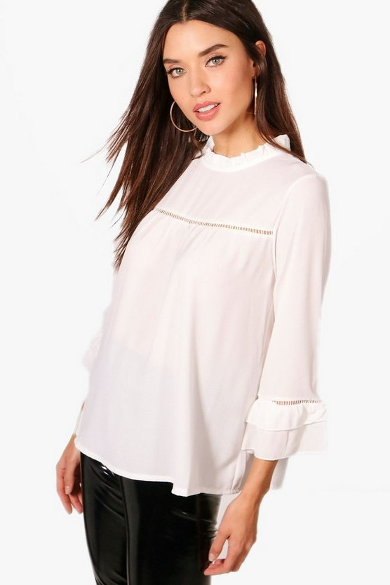 Louise Ruffle Sleeve Crochet Trim Blouse