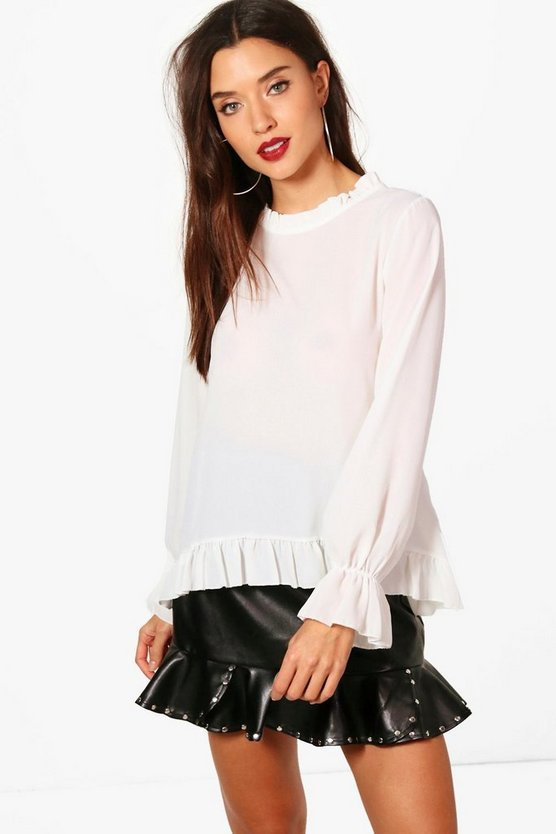 Shannon High Neck Ruffle Sleeve Trim Blouse