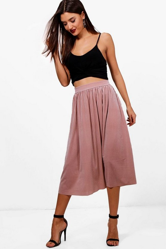 Talia Pleated Velvet Midi Skater Skirt