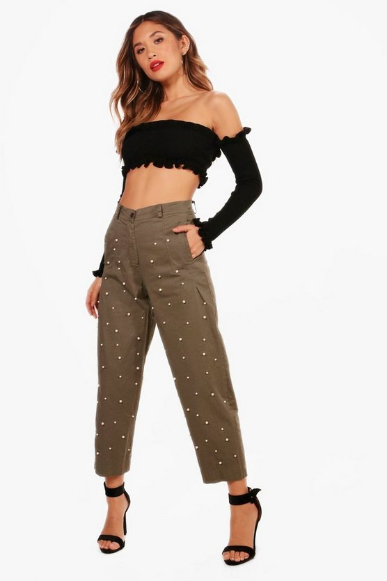 Victoria All Over Pearl Embellished Utility Trouser