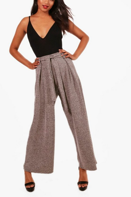 Maia Boucle Tie Waist Wide Leg Trousers
