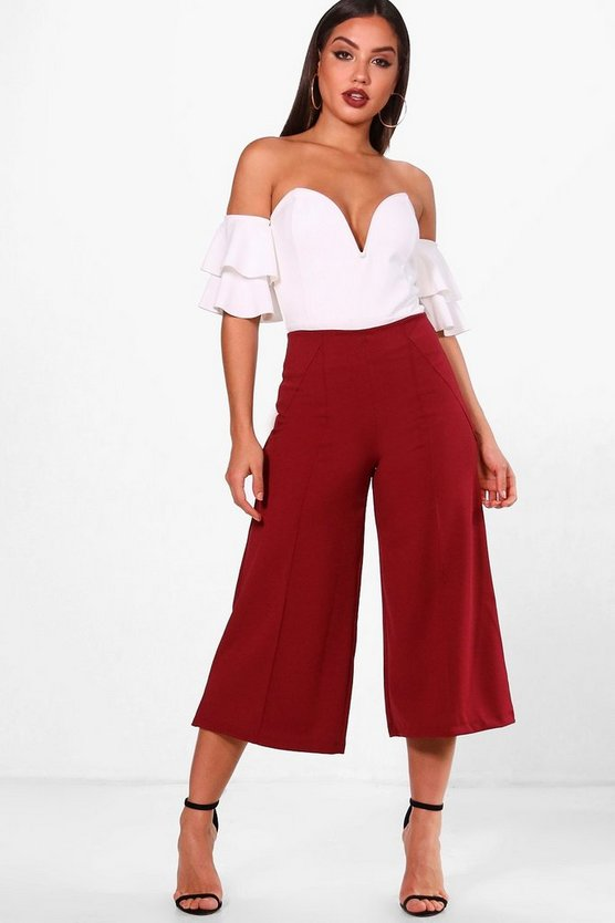 Ivy Crepe Pintuck Detail Culotte