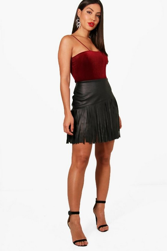 Esme Metallic Fringed PU Mini Skirt