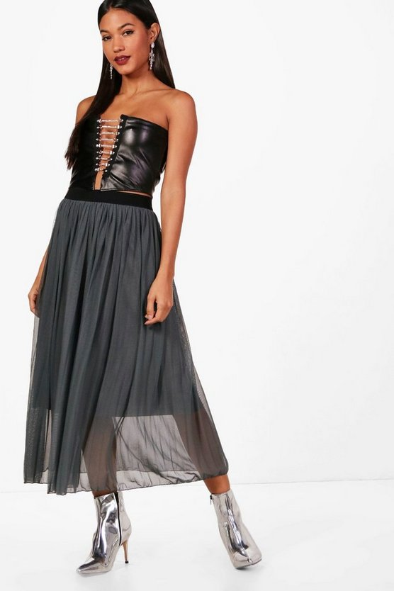 Harriet Boutique Tulle Pleated Midi Skirt