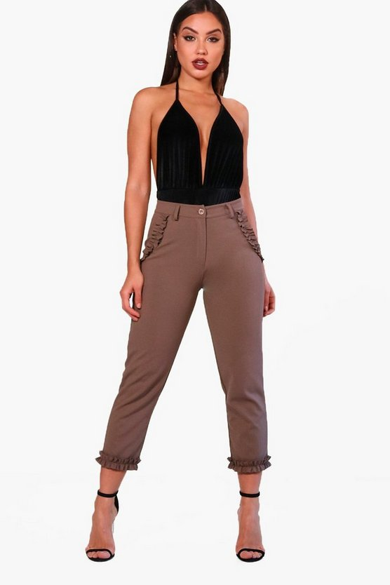 Frill Hem & Pocket Slim Leg Trouser