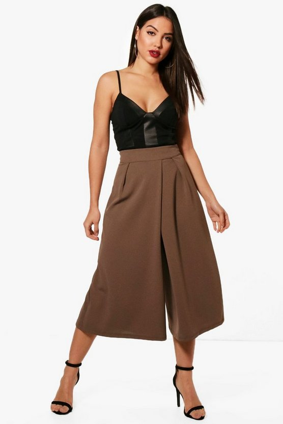 Sara Pleated Wide Leg Crepe Culotte