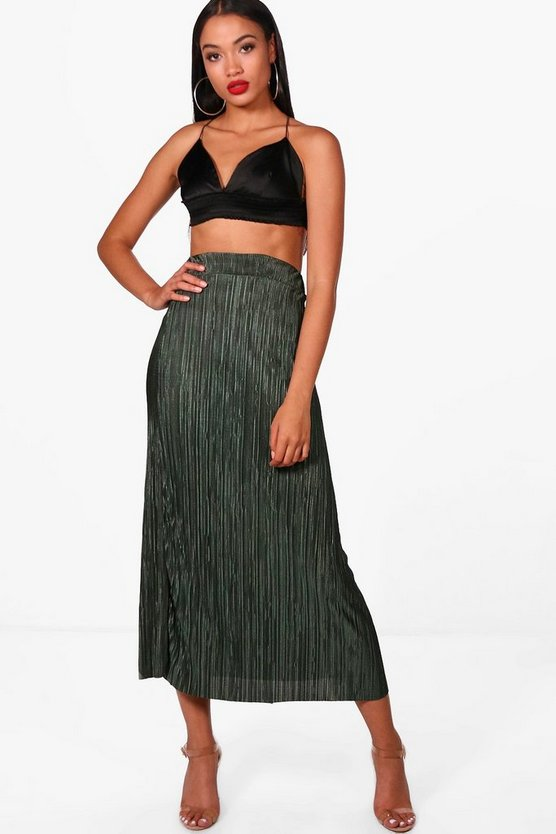 Cara Pleated Crinkle Midaxi Skirt