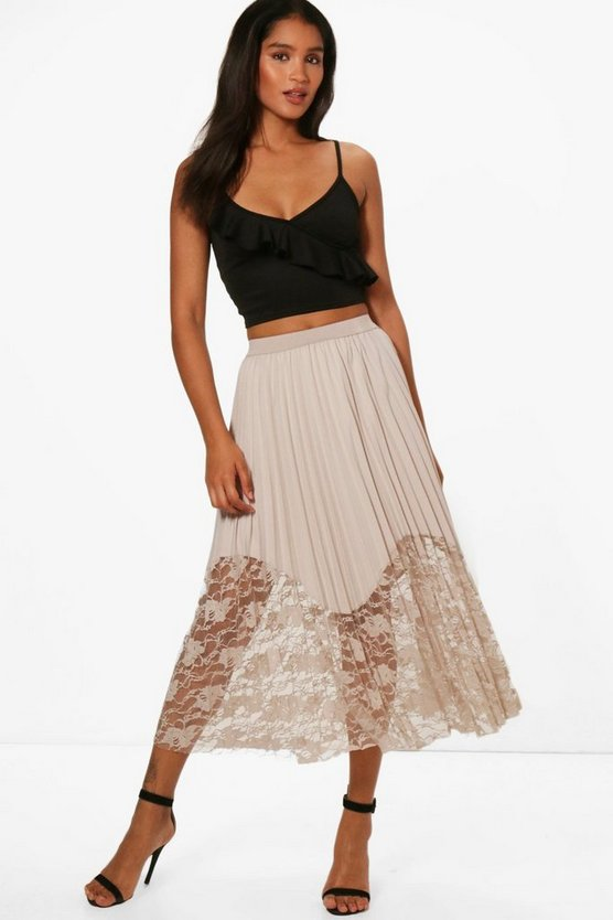 Anabelle Pleated Lace Hem Midi Skirt
