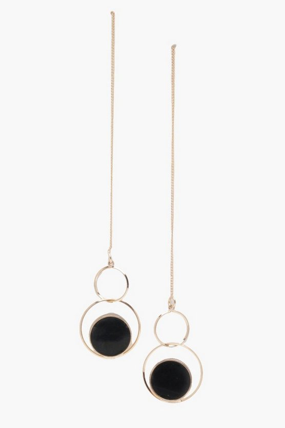 Sue Bar Double Hoop And Stone Geo Earrings