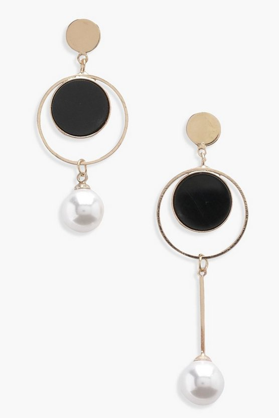 Geometric Layered Hoop And Pearl Earrings
