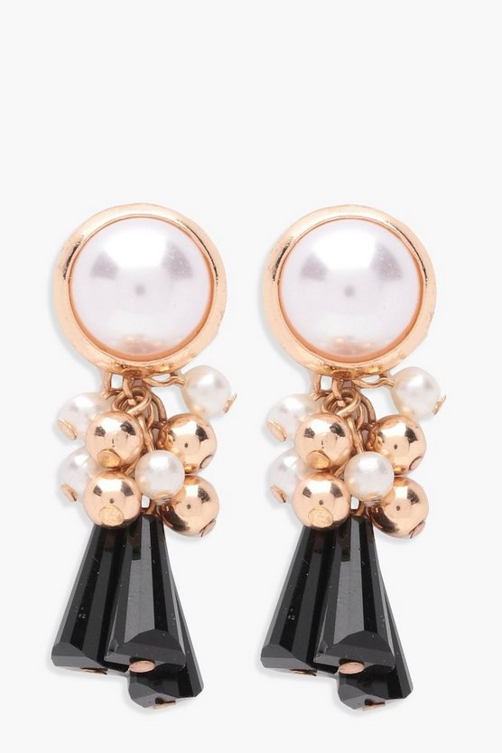 Pearl Statement Chunky Tassel Earrings
