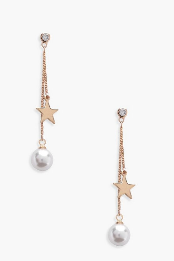 Flossie Star and Pearl Drop Earrings
