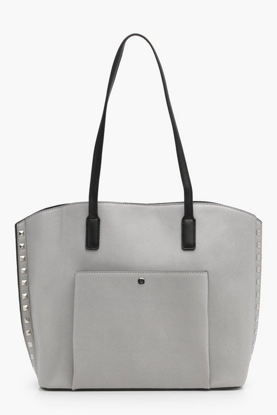 Emma Pocket Front Studded Shopper Bag