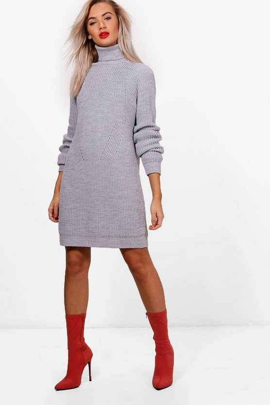 Alice Roll Neck Cable Detail Dress