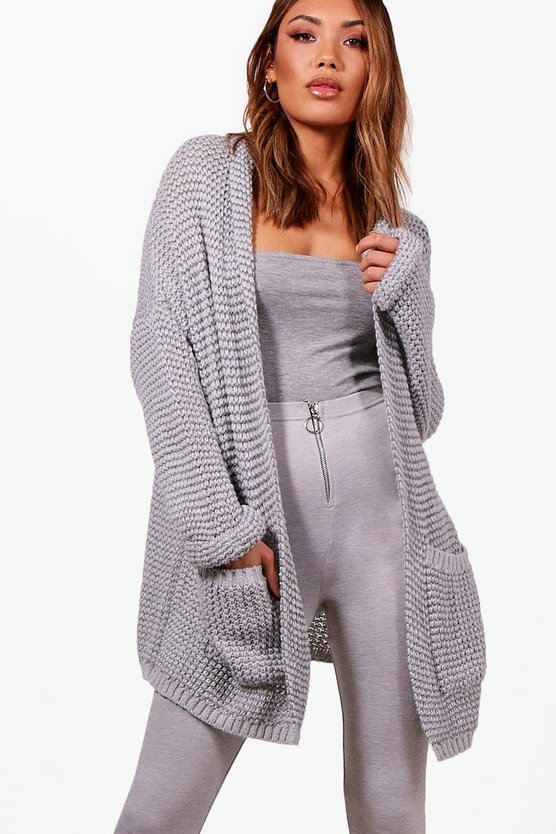 Harriet Mixed Stitch Turn Up Cuff Slouchy Cardigan