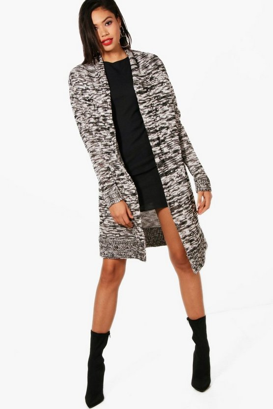 Daisy Midi Length Shawl Collar Marl Cardigan