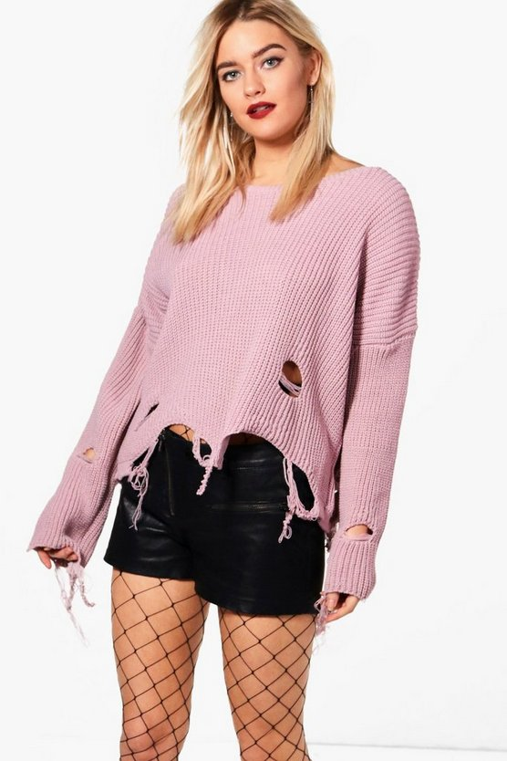 Natasha Distressed Hem Crop Jumper