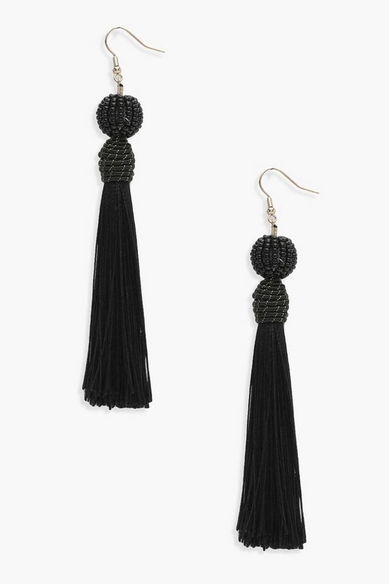 Hannah Beaded Top Tassel Earrings