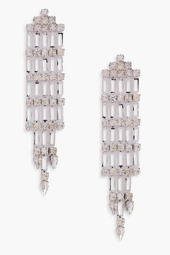 Poppy Diamante Statement Drop Earrings