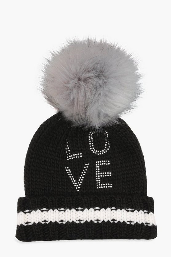 Ivy Diamante 'Love' Preppy Beanie