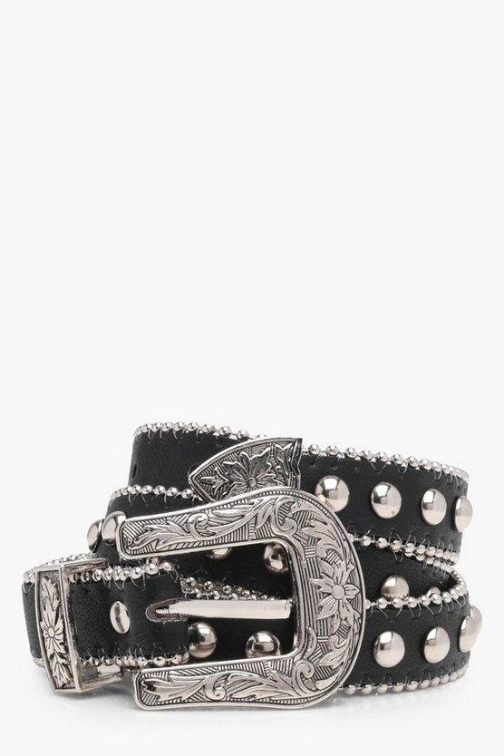 Olivia Studded Western Buckle Belt