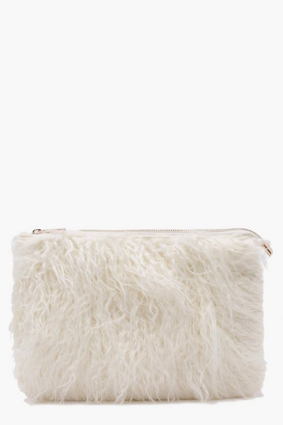 Louise Mongolian Faux Fur Clutch Bag