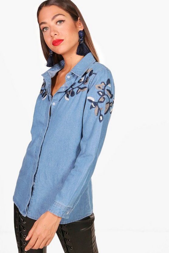 Hana Heavy Embroidered Denim Shirt