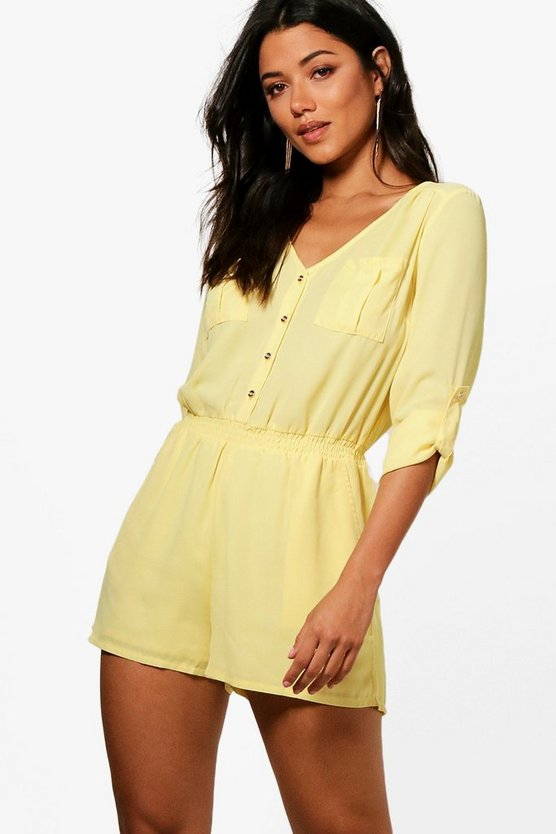 Aubree Button Through Playsuit