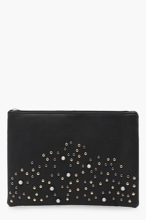 Faux Pearl & Stud Clutch Bag