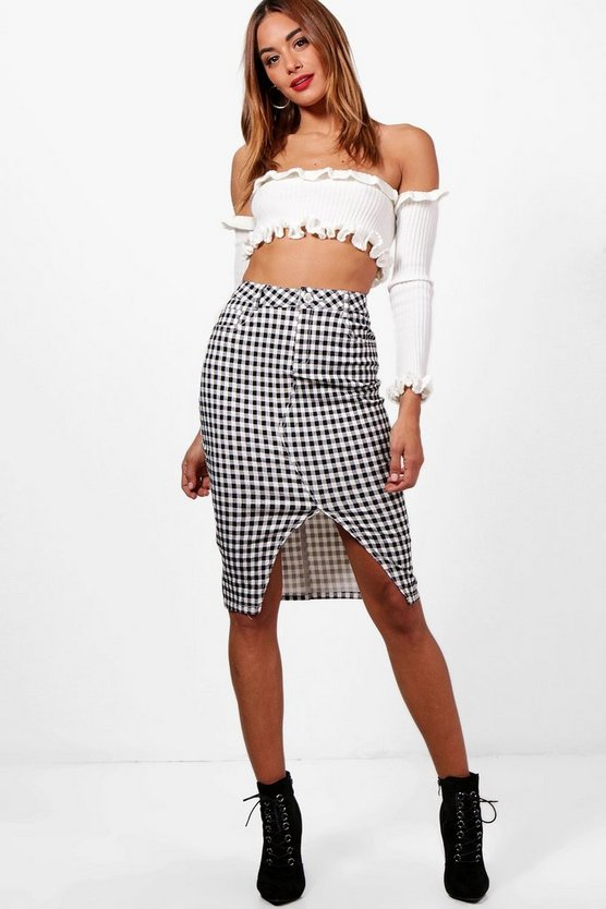 Gingham Split Front Denim Pencil Skirt