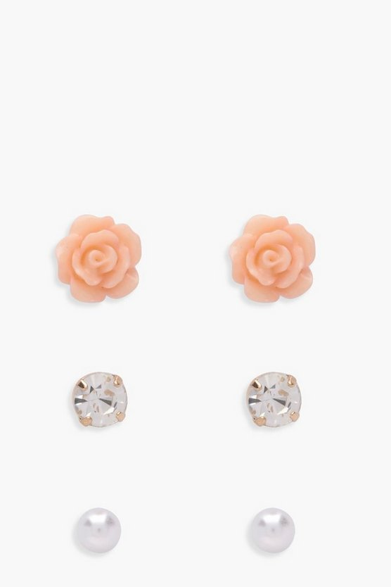 Paula Diamante Rose And Pearl Stud 3 Pack