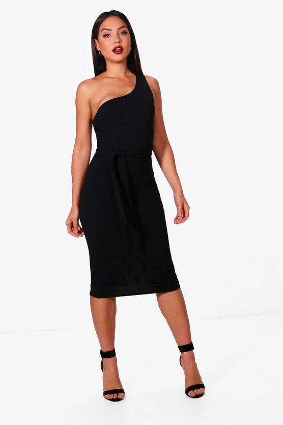 Maddy One Shoulder Bow Detail Midi Dress
