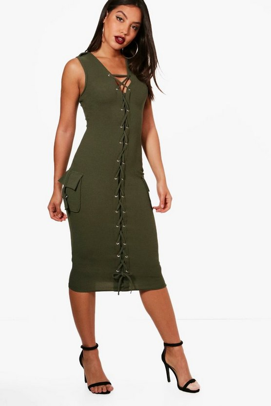 Kara Lace Up Front Pocket Detail Midi Dress