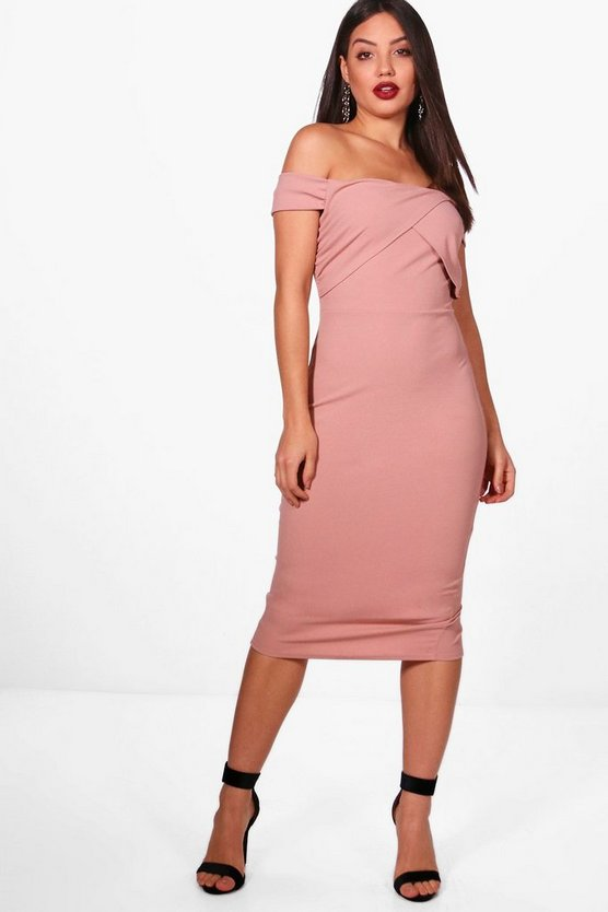 Amelie Wrap Top Off the Shoulder Midi Dress