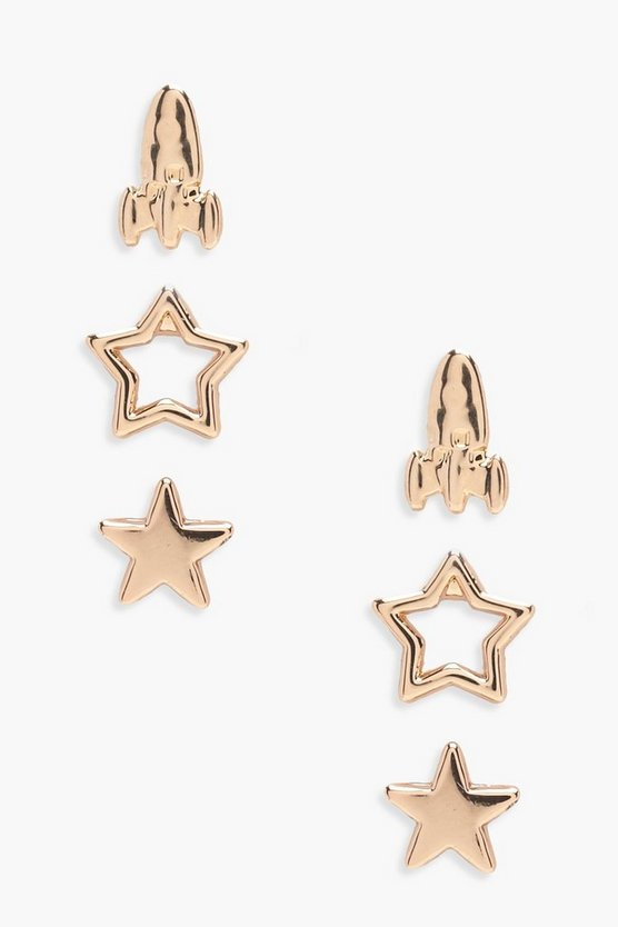 Zoe Rocket And Star Studs 3 Pack