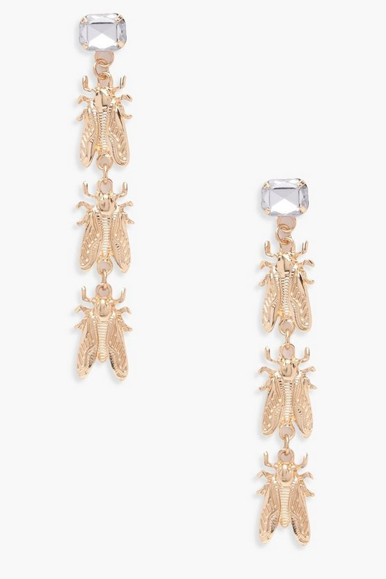 Katie Bug Gem Stone Drop Earrings