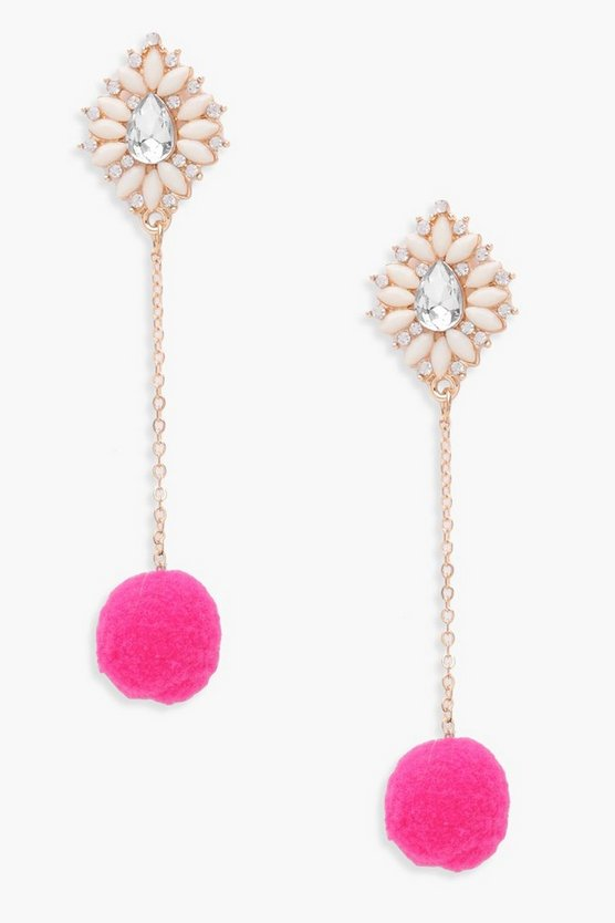 Elle Floral Diamante And Pom Earrings