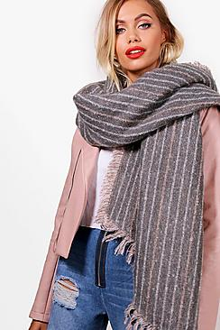 Pinstripe Boucle Scarf