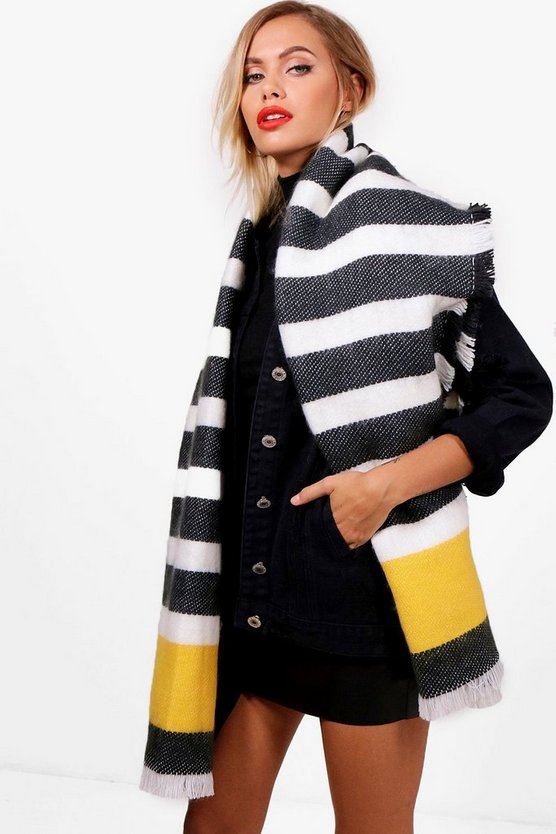 Lana Chunky Striped Woven Scarf