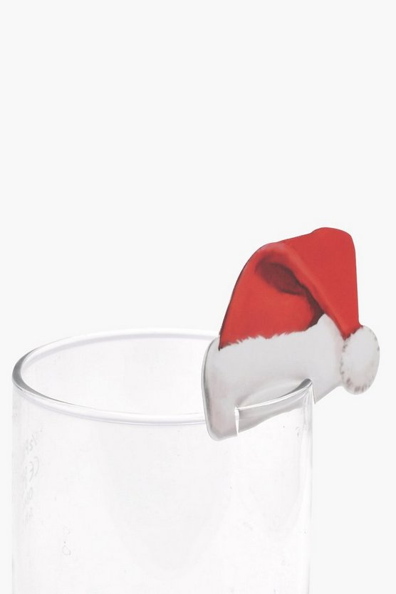 Santa Hat Glass Decorations