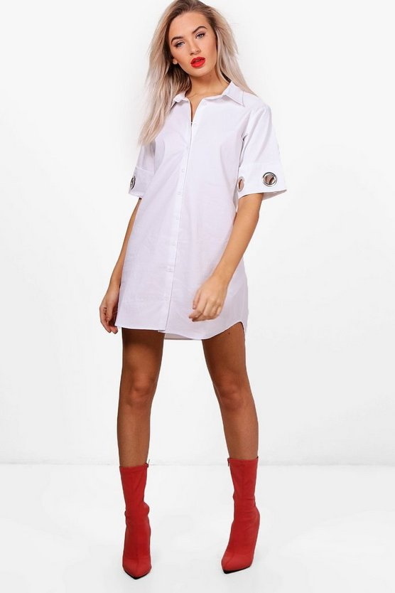 Jess Eyelet Detail Shirt Dress