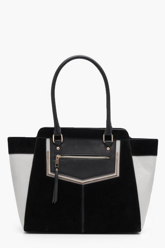 Cicely Patchwork Metal Bar Tote Bag