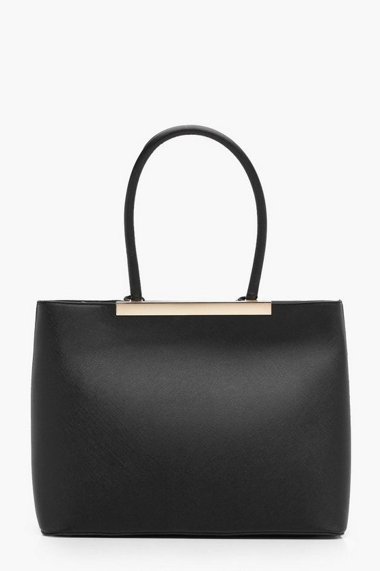 Ella Structured Crosshatch Bar Tote Bag