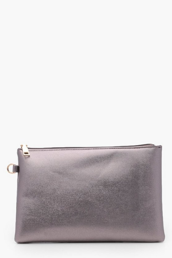 Katy Textured Metallic Zip Top Clutch