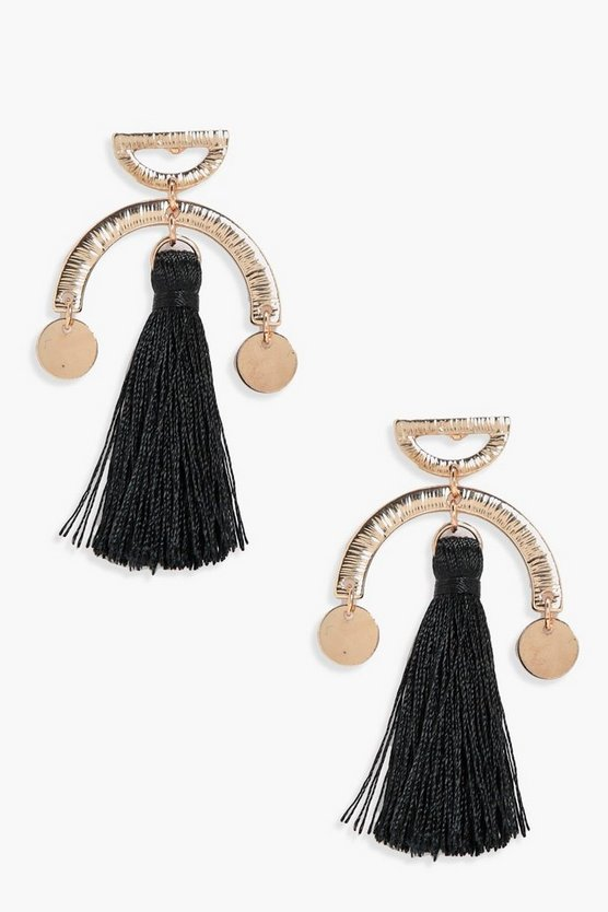 Honey Horse Shoe Tassel Earrings