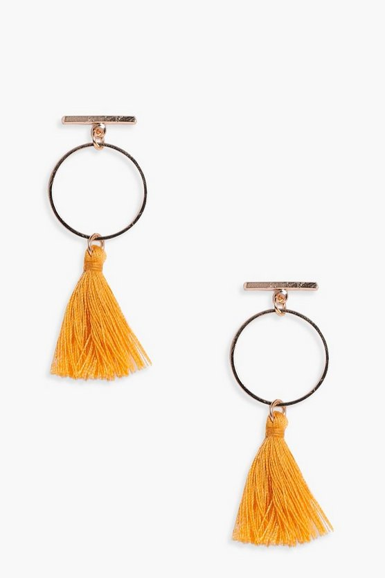 Leah Bar and Hoop Tassel Earrings