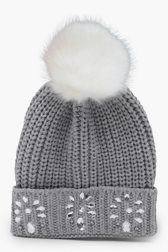 Embellished Contrast Faux Fur Pom Beanie