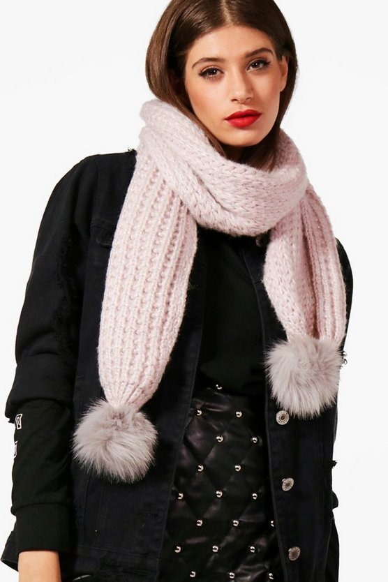 Textured Pom End Scarf