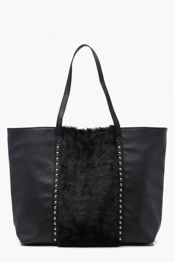 Faux Fur Panel Studded Shopper Bag