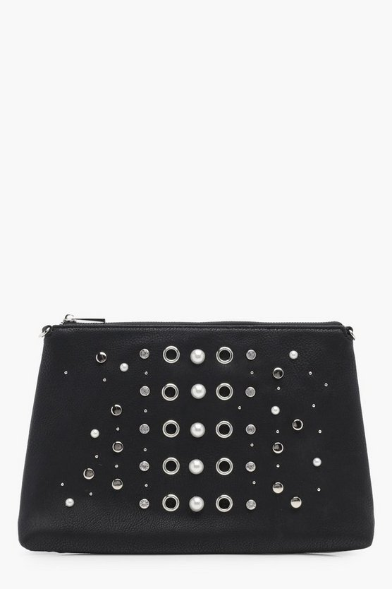 Pearl And Eyelet Zip Top Clutch